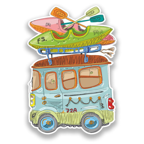 2 x Camper Van Vinyl Stickers Travel Luggage #7210