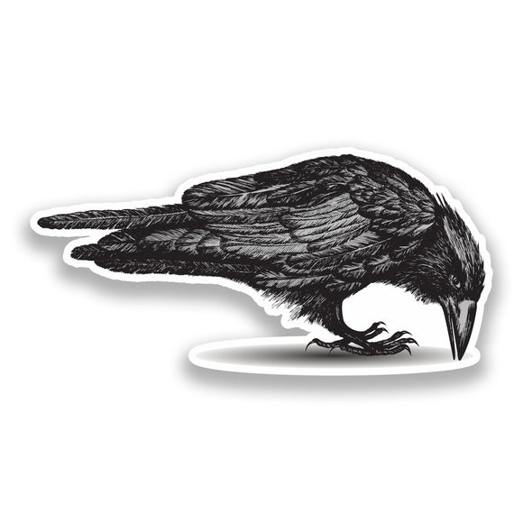 2 x Crow Vinyl Stickers Halloween Scary #7236