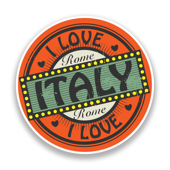 2 x I Love Italy Vinyl Stickers Travel Luggage #7241