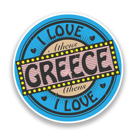 2 x I Love Greece Vinyl Stickers Travel Luggage #7242