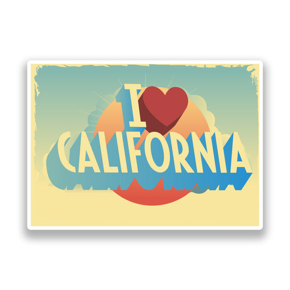 2 x I Love California Vintage Vinyl Stickers Travel Luggage #7252