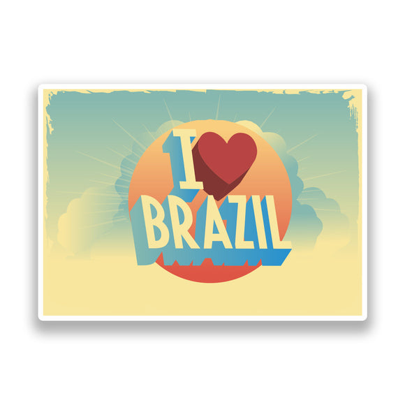 2 x I Love Brazil Vintage Vinyl Stickers Travel Luggage #7253