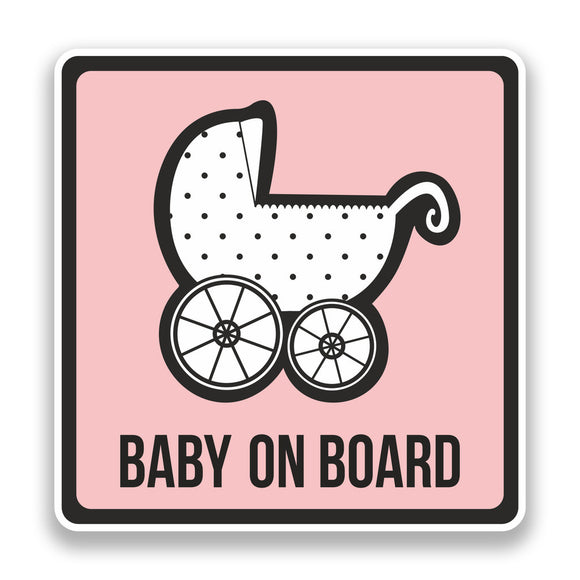 2 x Baby on Board Vinyl Stickers Pink Safety Warning Bumper #7302