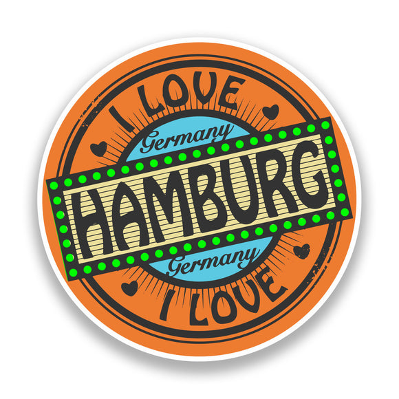2 x I Love Hamburg Germany Vinyl Stickers Travel Luggage #7310