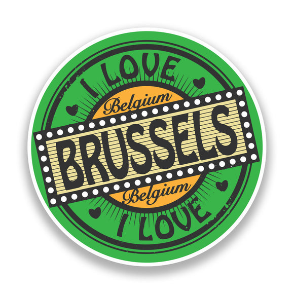 2 x I Love Brussels Belgium Vinyl Stickers Travel Luggage #7311