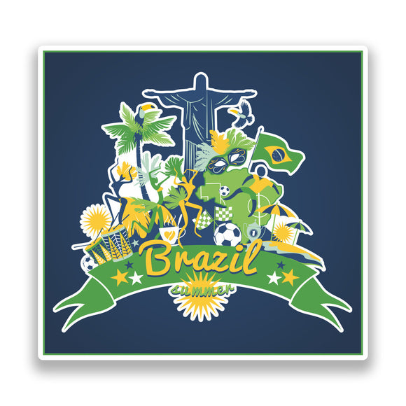 2 x Brazil Summer Vinyl Stickers Travel Luggage #7326
