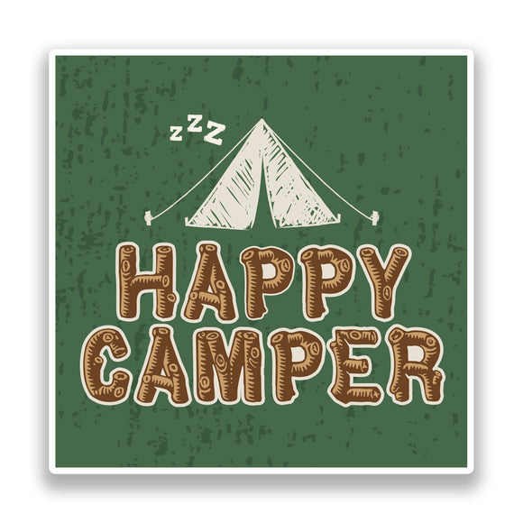 2 x Happy Camper Vinyl Stickers Travel Luggage #7340