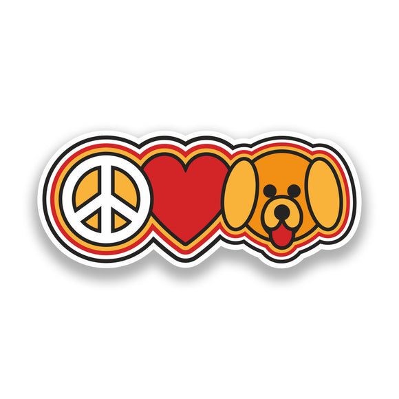 2 x Peace Love Dogs Vinyl Stickers Hippy #7346