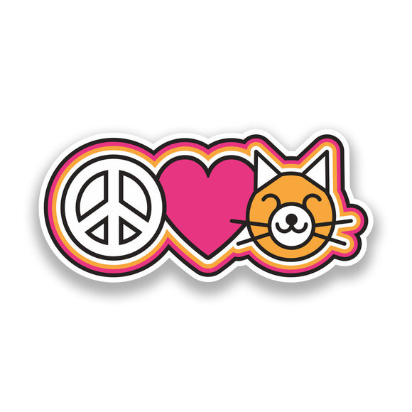 2 x Peace Love Cats Vinyl Stickers Hippy #7347