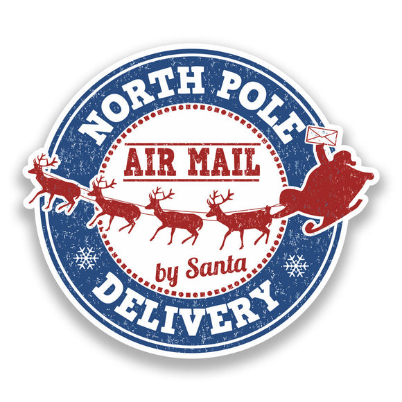 2 x North Pole Air Mail Vinyl Stickers Christmas Decoration #7349
