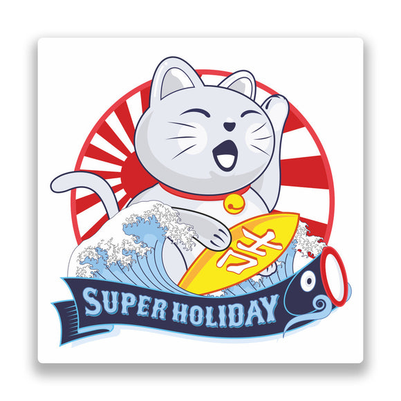 2 x Lucky Cat Japan Surfing Vinyl Stickers #7351