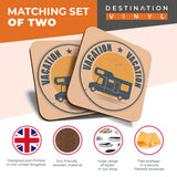 Great Coasters (Set of 2) Square / Glossy Quality Coasters / Tabletop Protection for Any Table Type - Camper Van Bus Motorhome Camping  #7380