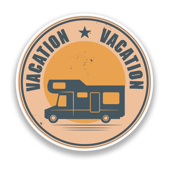 2 x Vacation Camper Van Vinyl Stickers Travel Luggage #7380