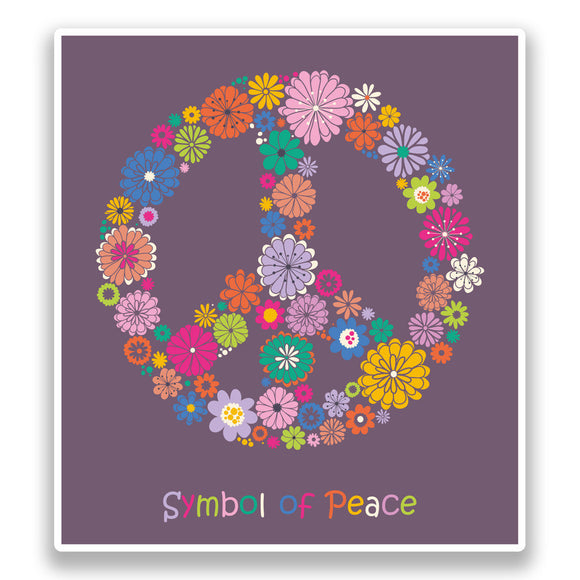 2 x Peace Symbol Vinyl Stickers Hippy #7381