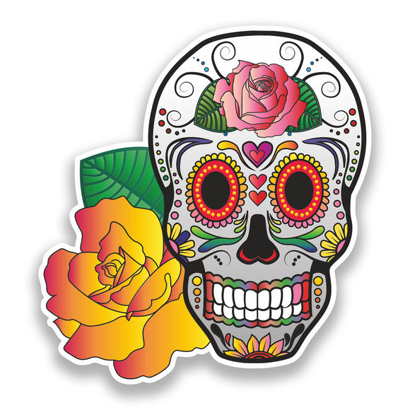 2 x Sugar Skull Vinyl Stickers Mexico Festival Day of the Dead #7382