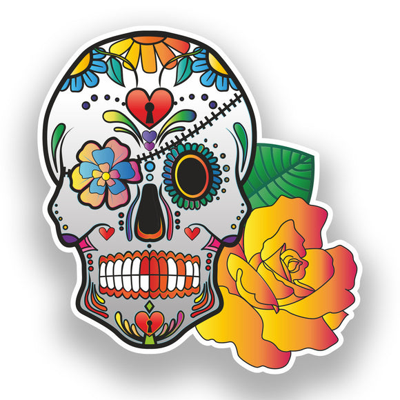 2 x Sugar Skull Vinyl Stickers Mexico Festival Day of the Dead #7383