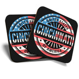 Great Coasters (Set of 2) Square / Glossy Quality Coasters / Tabletop Protection for Any Table Type - USA Cincinnati America Travel  #7393