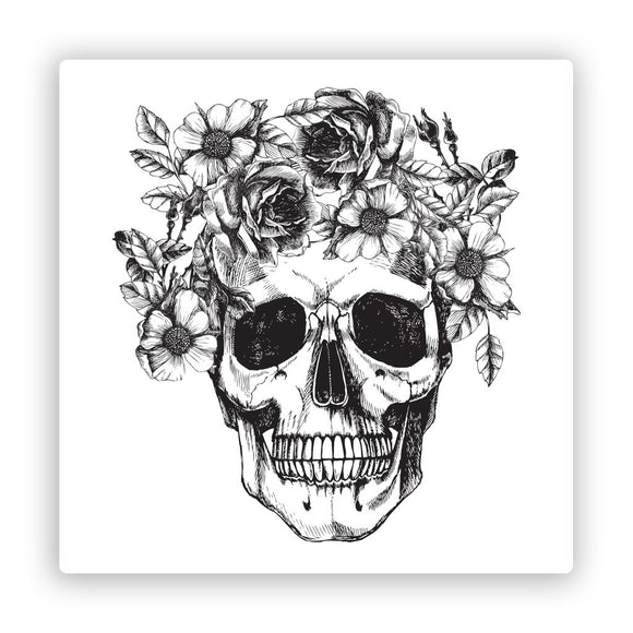 2 x Skull with Flowers Vinyl Stickers Scary Halloween #7406