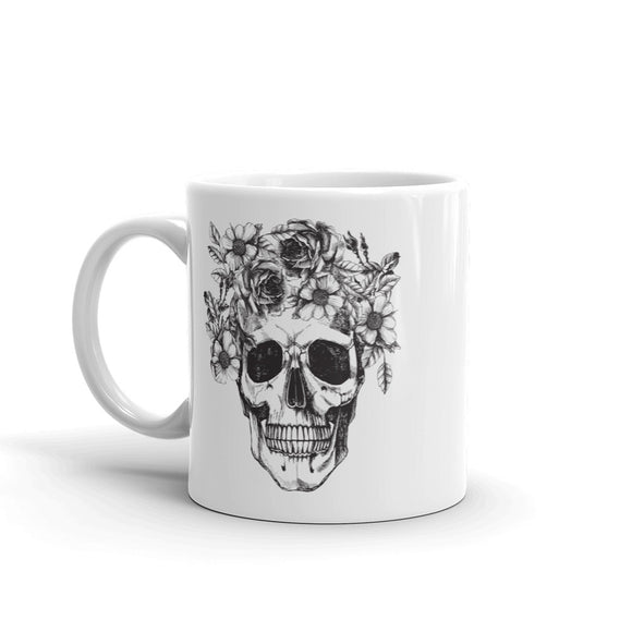 Skull with Flowers Scary Halloween High Quality 10oz Coffee Tea Mug #7406