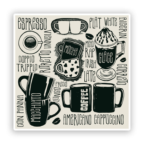 2 x Coffee Shop Vinyl Sticker Business Americano Cappuccino #7422