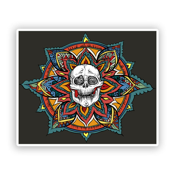 2 x Skull with Flowers Vinyl Stickers Scary Halloween #7428