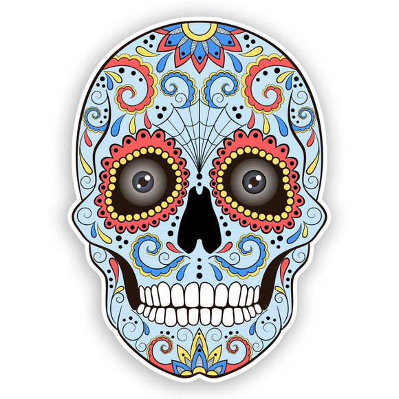 2 x Sugar Skull with Eyes Vinyl Stickers Mexico Festival Day of the Dead #7429