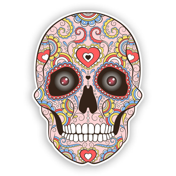 2 x Sugar Skull with Eyes Vinyl Stickers Mexico Festival Day of the Dead #7433