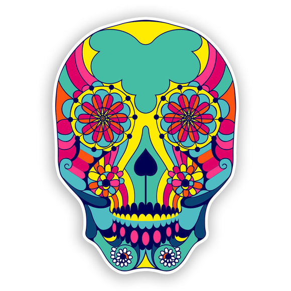 2 x Sugar Skull Vinyl Stickers Mexico Festival Day of the Dead #7434