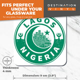 Great Coasters (Set of 2) Square / Glossy Quality Coasters / Tabletop Protection for Any Table Type - Nigeria Lagos Green Moon Star Travel  #7436