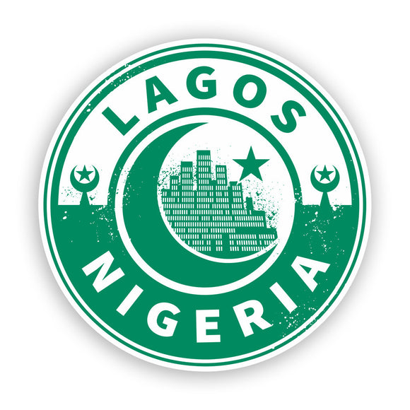 2 x Nigeria Lagos Vinyl Stickers Travel Luggage #7436