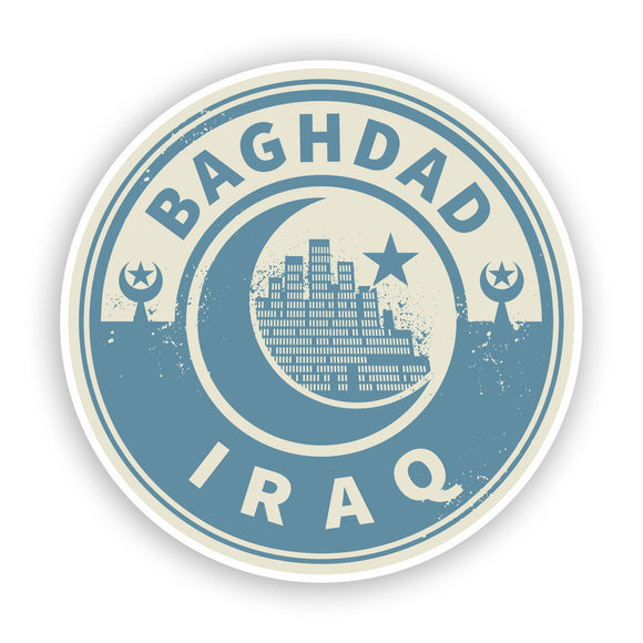 2 x Iraq Baghdad Vinyl Stickers Travel Luggage #7444