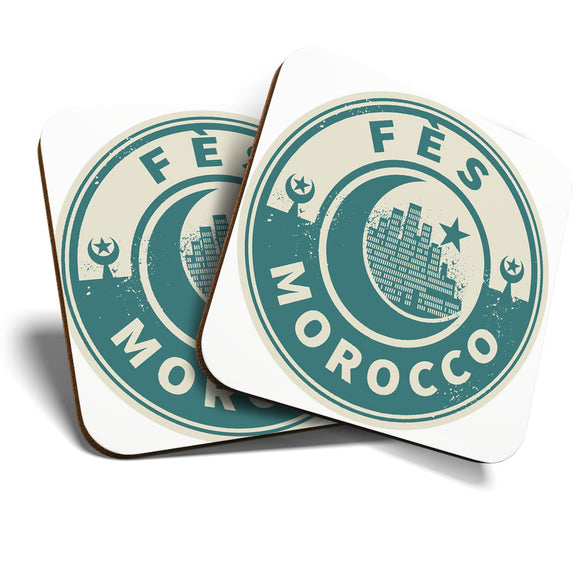 Great Coasters (Set of 2) Square / Glossy Quality Coasters / Tabletop Protection for Any Table Type - Morocco Fes Moon Travel  #7448