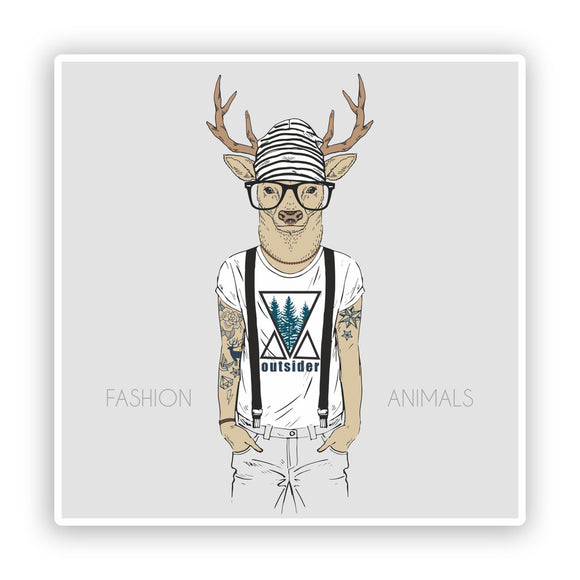 2 x Cool Hipster Fashion Deer Vinyl Stickers Travel Luggage #7526