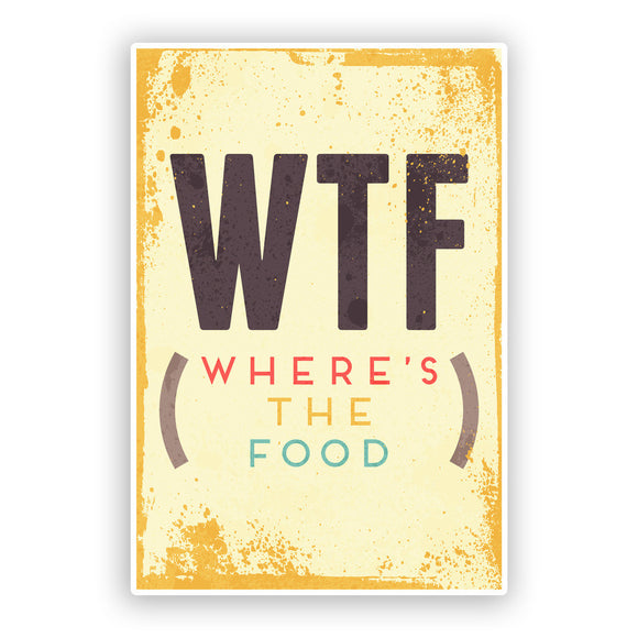 2 x (WTF) Where's The Food Funny Vinyl Stickers Travel Luggage #7528