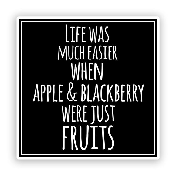 2 x Apple and Blackberry Funny Vinyl Stickers #7557