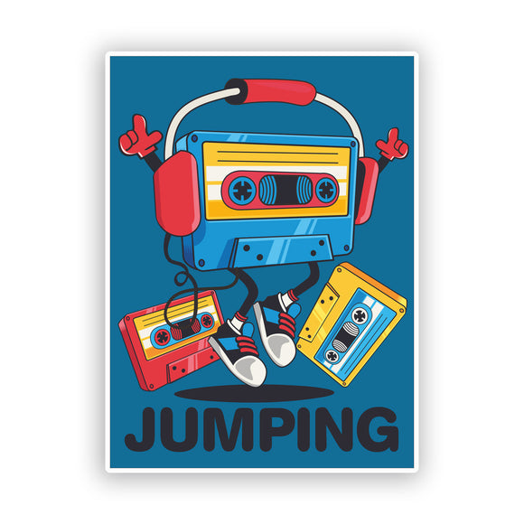 2 x Jumping Retro Cassette Funny Vinyl Stickers #7596