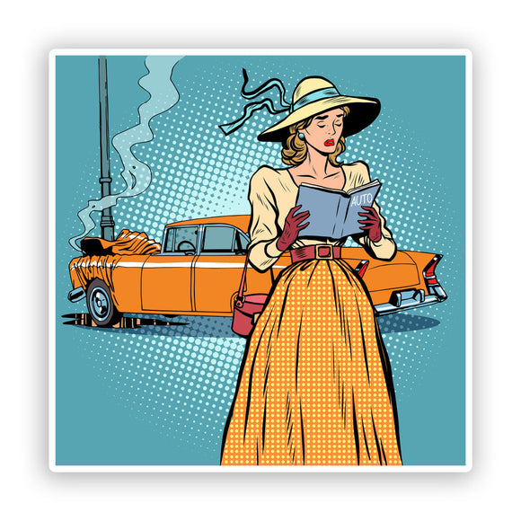 2 x Retro Funny Woman Driver Funny Vinyl Stickers #7622