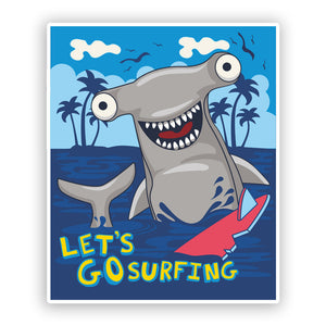 2 x Lets Go Surfing Shark Funny Vinyl Stickers Travel Luggage #7625