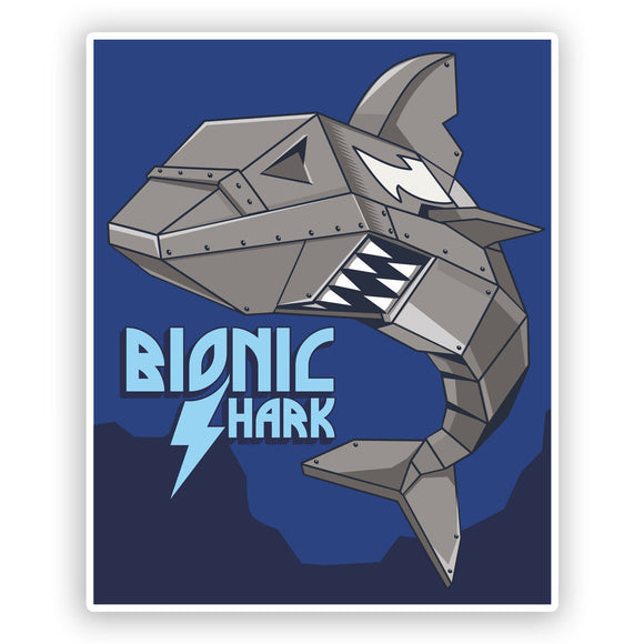 2 x Bionic Shark Funny Vinyl Stickers Travel Luggage #7626