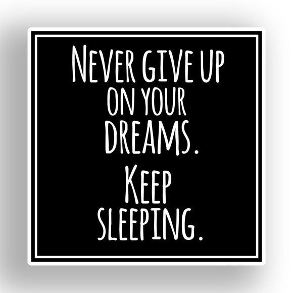 2 x Never Give Up On Your Dreams Funny Vinyl Sticker #7647