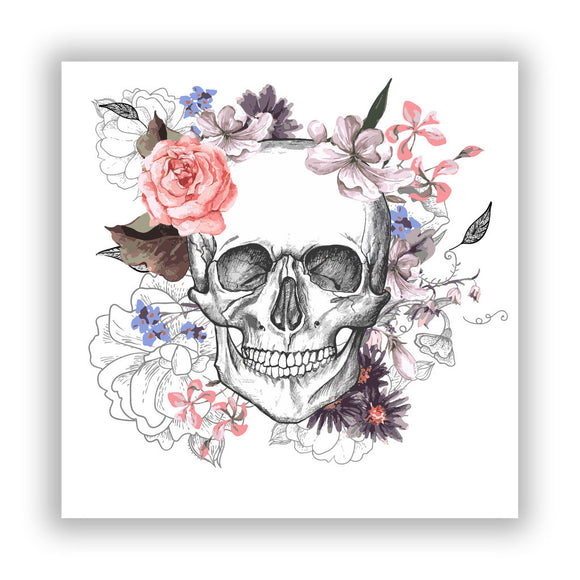 2 x Skull With Flowers Vinyl Stickers Scary Horror Halloween Creepy #7685