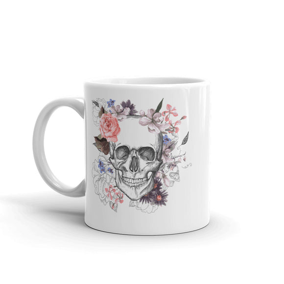 Skull With Flowers Scary Horror Halloween High Quality 10oz Coffee Tea Mug #7685