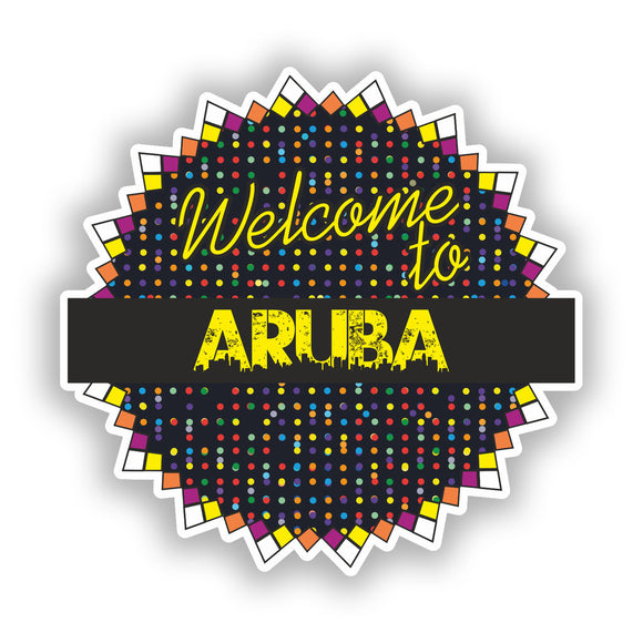 2 x Welcome To Aruba Vinyl Stickers Travel Luggage #7782