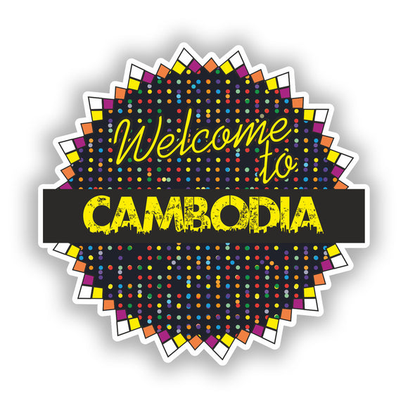 2 x Welcome To Cambodia Vinyl Stickers Travel Luggage #7804