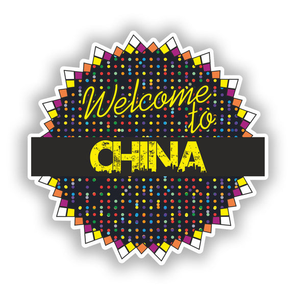 2 x Welcome To China Vinyl Stickers Travel Luggage #7811
