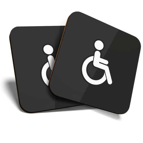 Great Coasters (Set of 2) Square / Glossy Quality Coasters / Tabletop Protection for Any Table Type - Disabled Toilet Sign Office Cafe  #7841