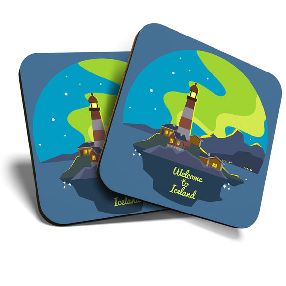 Great Coasters (Set of 2) Square / Glossy Quality Coasters / Tabletop Protection for Any Table Type - Welcome to Iceland Travel  #7875