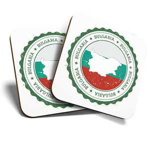 Great Coasters (Set of 2) Square / Glossy Quality Coasters / Tabletop Protection for Any Table Type - Bulgaria Sofia Church Flag Travel  #7954