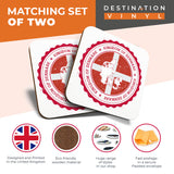 Great Coasters (Set of 2) Square / Glossy Quality Coasters / Tabletop Protection for Any Table Type - Kingdom Of Denmark Copenhagen Travel  #7955
