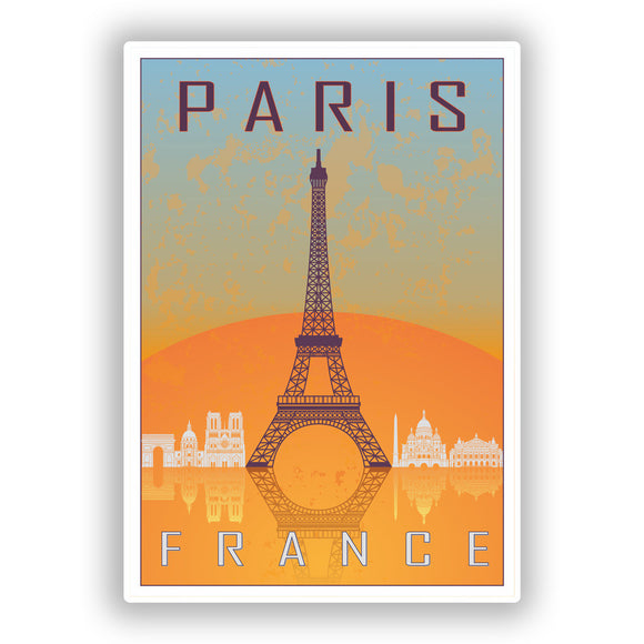 2 x Paris France Vinyl Stickers Travel Luggage #7967